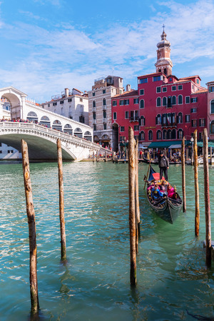 Venice, Italy - February 27, 2017: Rialto Bridge at the Grand Canale with unidentified people. Editorial