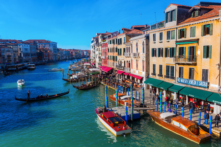 Venice, Italy - February 25, 2017: view of the Grand Canal in Venice with unidentified people. Venice is world renown for the beauty of its settings.