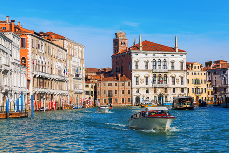 Venice, Italy - February 25, 2017: view of the Grand Canal in Venice with unidentified people. Venice is world renown for the beauty of its settings