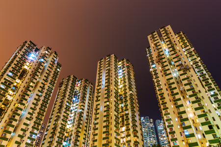 overcrowded: low angle view of skyscrapers at Causeway Bay, Hong Kong, at night Stock Photo
