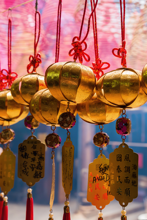 Hong Kong, Hong Kong - March 11, 2017: inside of the Tin Hau Temple in Yau Ma Tei, Kowloon, Hong Kong. The Tin Hau Temple was probably erected at this location in 1864