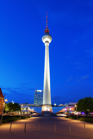 Berlin, Germany - May 14, 2016: TV Tower in Berlin at night. It was constructed in the 60ies by the administration of the GDR, with 368 m it is the tallest structure of Germany and 2nd of the EU