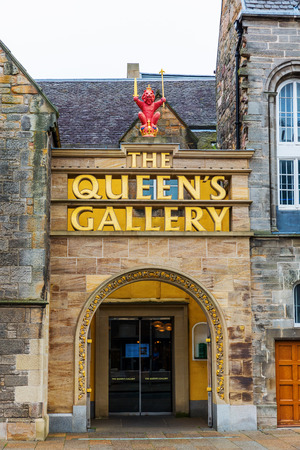 Edinburgh, UK - September 09, 2016: Entrance of the Queens Gallery in Edinburgh. It is an art gallery that forms part of the Palace of Holyroodhouse. It was opened in 2002 by Queen Elizabeth II