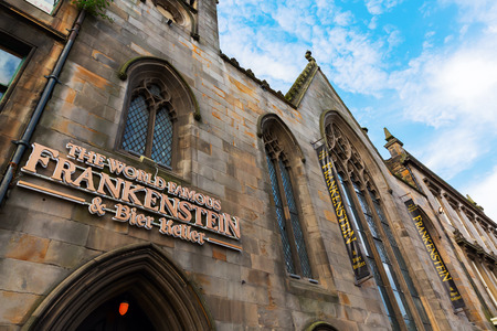 Edinburgh, Scotland - September 09, 2016: Frankenstein pub in the old town of Edinburgh. It is a bier keller in a suitably gothic setting of an old church Editorial