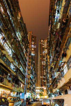 Hong Kong, Hong Kong - March 11, 2017: road at night in a housing estate at Quarry Bay. Hong Kong is one of worlds most significant financial centres and the 4th most densely populated state