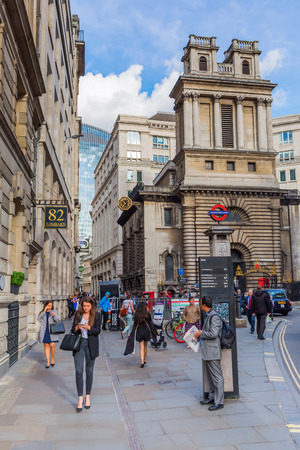 fare: London, UK - June 15, 2016: street scene at Bank Station with unidentified people. The station complex is one of the busiest on the London Underground network and is in fare zone 1
