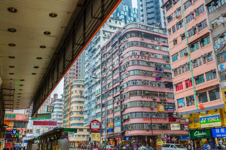 Hong Kong, Hong Kong - March 10, 2017: shopping street with unidentified people in Kowloon, Hong Kong. Hong Kong is one of worlds most significant financial centres, 4th most densely populated state Editorial