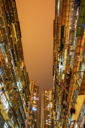 overcrowded: skyscrapers at Causeway Bay in Hong Kong at night