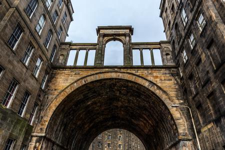 Regents Bridge in the old town of Edinburgh, Scotland, UK Stock Photo