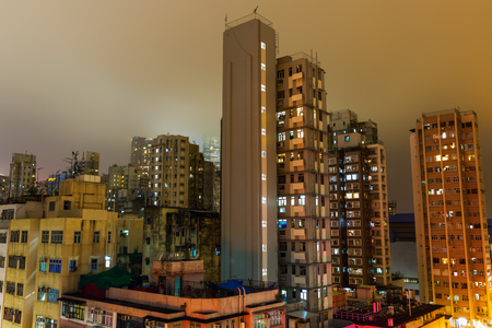 picture of skyscrapers in Kowloon, Hong Kong, at night