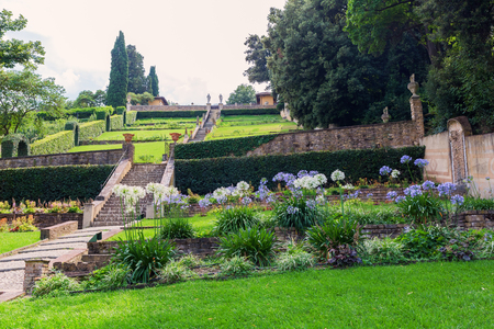 Florence, Italy - July 06, 2016: garden Giardino Bardini in Florence. Its an Italian Renaissance garden opened only recently to the public, it is relatively little-known. Editorial