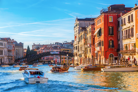 Venice, Italy - February 25, 2017: scene with unidentified people at the Grand Canal. Venice is world renown for the beauty of its settings, a part is listed under UNESCO world heritage sites