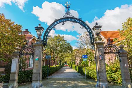 Enkhuizen, Netherlands - October 09, 2016: Snouck van Loosen Park in Enkhuizen. It was the first social housing for workers in The Netherlands, inititated by Margaretha Maria Snouck van Loosen
