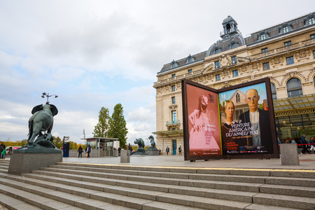 france station: Paris, France - October 19, 2016: Musee dOrsay with unidentified people. It houses in the former Gare dOrsay, a Beaux-Arts railway station. It is one of the largest museums in Europe Editorial