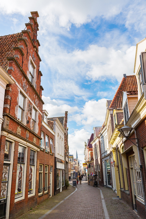 Enkhuizen, Netherlands - October 09, 2016: pictureseque shopping street in Enkhuizen with unidentified people. Enkhuizen has today one of the largest marinas in the Netherlands Editorial