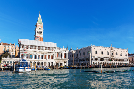 Venice, Italy - February 25, 2017: panorama of Venice seen from lagoon. Venice is world renown for the beauty of its settings, a part is listed under UNESCO world heritage sites