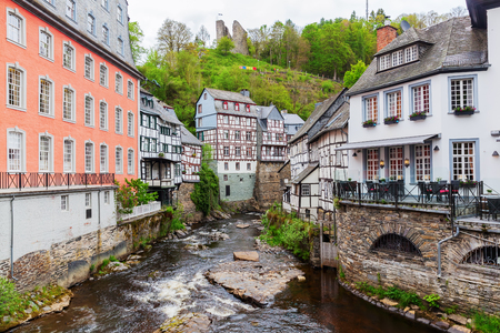 picturesque view with typical half-timbered houses of Monschau, Germany