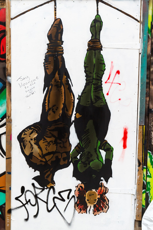 London, UK - June 18, 2016: street art in London. Street art has moved from the beginnings of graffiti and vandalism to new modes where artists work to bring messages or the beauty, to an audience