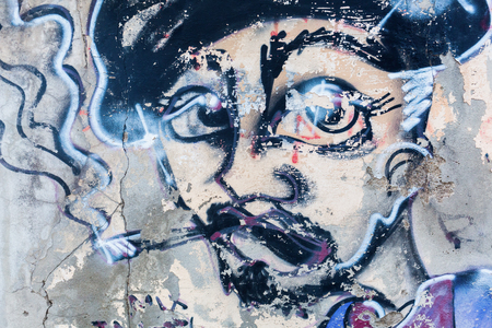 Livorno, Italy - July 01, 2016: street art in Livorno. Street art has moved from the beginnings of graffiti and vandalism to new modes where artists show messages or beauty of their art Stock Photo - 80295597