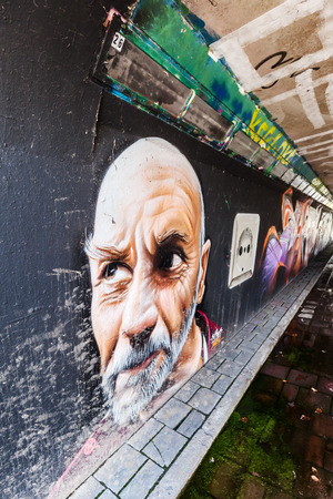 Eindhoven, Netherlands - April 12, 2016: mural artwork at Step in the Arena in Eindhoven. It is a place where every years an international street art festival take place. Editorial
