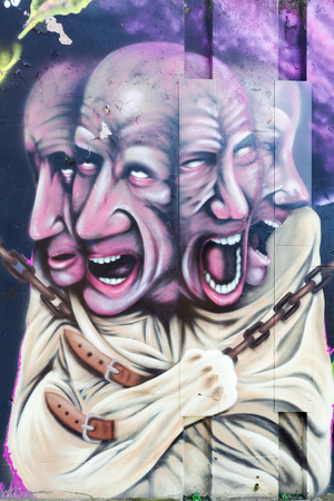 mania: Eindhoven, Netherlands - April 12, 2016: mural artwork at Step in the Arena in Eindhoven. It is a place where every years an international street art festival take place. Editorial