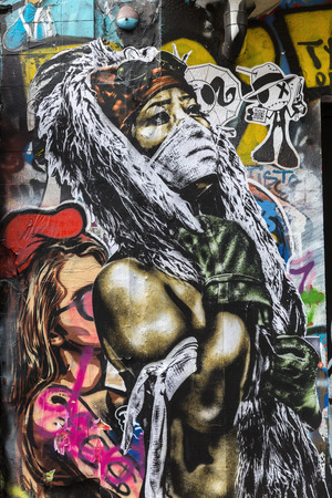 Paris, France - October 18, 2016: street art in Paris. Street art has moved from the beginnings of graffiti and vandalism to new modes where artists show messages or beauty of their art Editorial