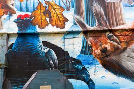 Glasgow, UK - September 12, 2016: street art in Glasgow. Street art has moved from the beginnings of graffiti and vandalism to new modes where artists show messages or beauty of their art Editorial