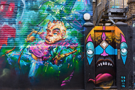 London, UK - June 17, 2016: street art in London. Street art has moved from the beginnings of graffiti and vandalism to new modes where artists work to bring messages or the beauty, to an audience