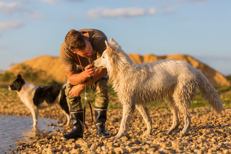 young man plays with a border collie and a white German Shepherd on a pebble beach