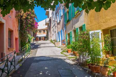Saint Tropez, France - August 03, 2016: in the old town of Saint Tropez with unidentified people. St Tropez is a seaside resort at the Cote dAzur and popular for the European and American jet set Editorial