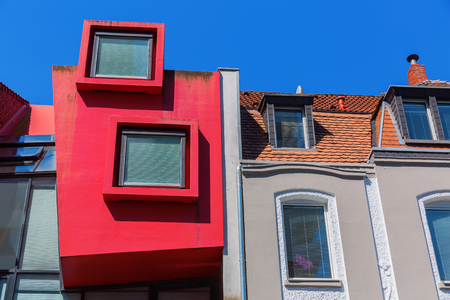 Cologne, Germany - July 03, 2017: colorful house facade in Cologne. With a population of more than 1 Mio Cologne is the fourth largest city in Germany. Publikacyjne