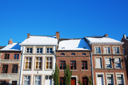 wintry picture of old buildings in the picturesque small city Limbourg, Belgium