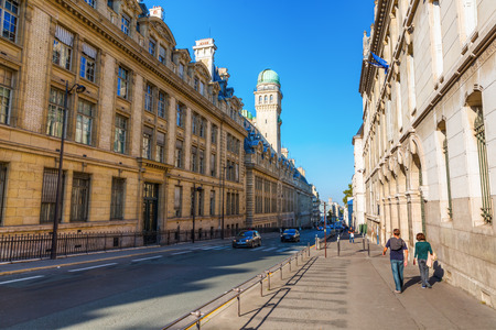Paris, France - October 16, 2016: Sorbonne in Paris. The Sorbonne was the historical house of the former University of Paris. Today it houses several higher education and research institutions