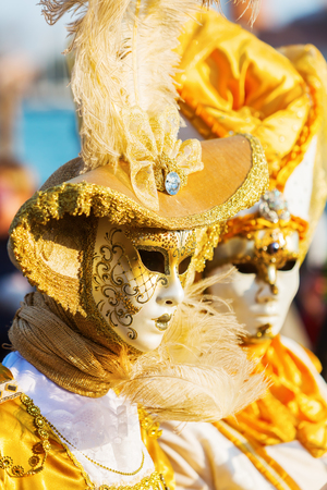 Venice, Italy - February 26, 2017: unidentified disguised women at the Carnival of Venice. The Carnival of Venice is an annual festival, world famous for its elaborate masks. 에디토리얼
