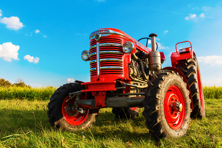 Aldenhoven, Germany - October 18, 2017: historical tractor made by Hürlimann. The trademark Hürlimann is a Swiss tractor producer established in 1929