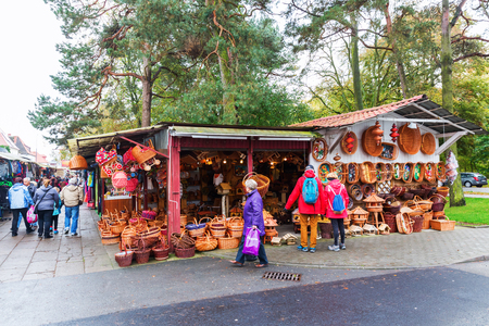 Swinoujscie, Poland - October 22, 2017: famous Polish market with unidentified people. For many German tourists the market is the main attraction of Swinoujscie because of many cheap goods