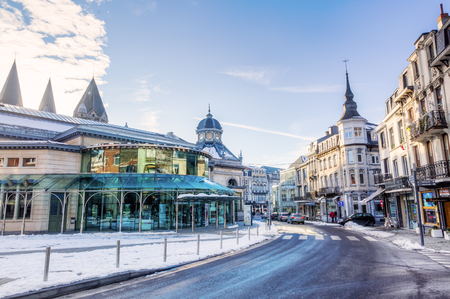 Spa, Belgium - January 18,, 2017: wintry scene in the center of Spa. Spa is one of Belgiums main tourist cities. The town is famous for several natural mineral springs, and the worlds first Casino