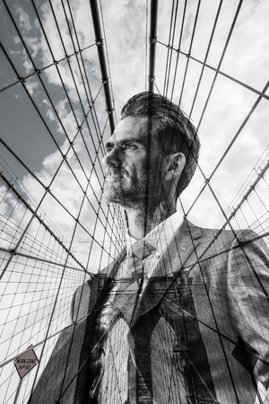 double exposure picture of a businessman with Brooklyn Bridge in NYC Stock fotó