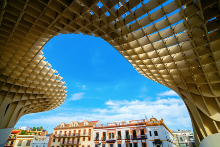 Seville, Spain - November 13, 2018: Metropol Parasol with unidentified people. It is a wooden structure designed by Juergen Mayer, with dimensions 150 by 70 meters and 26 meters high Editöryel