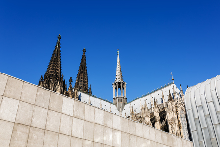 Spiers of the Cologne Cathedral behind the Romano Germanic Museum in Cologne, Germany