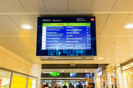 Cologne, Germany - February 16, 2019: destination board at the main station of cologne. With daily 280,000 travelers the station is one of the busiest stations in Germany Publikacyjne