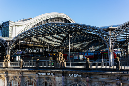 Cologne, Germany - February 16, 2019: Main station of Cologne, with unidentified people. With daily 280,000 travelers the station is one of the busiest stations in Germany