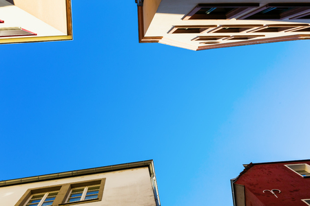 picture of corners of old houses in cologne, germany, in a low angle view