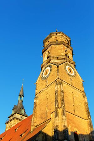 picture of the steeple of the Stiftskirche in Stuttgart, Germany Stock Photo