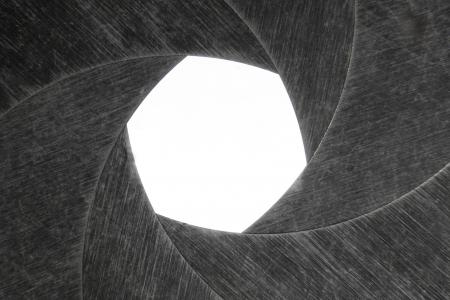 Photo diaphragm open over white. Stok Fotoğraf
