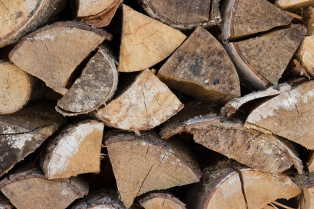 Pile of wood logs ready for winter Stock Photo