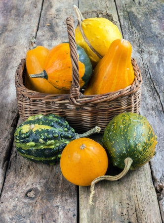 Pumpkins on a wooden table and basket