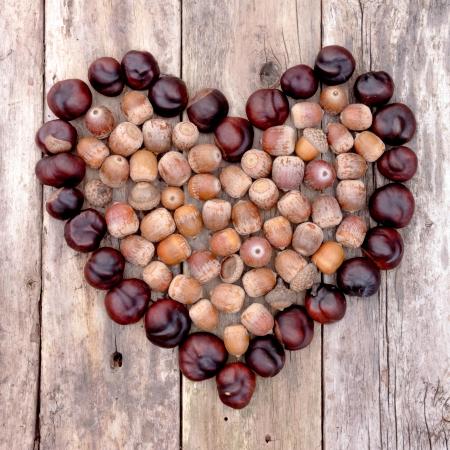 Kastanjes en eikels vormen een hart op een houten achtergrond Stockfoto