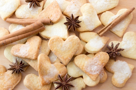 Sweet heart shaped sugar cookies Stock Photo