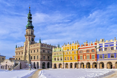 municipal editorial: The main market square in the old town of Zamosc. It is on the UNESCO World Heritage List